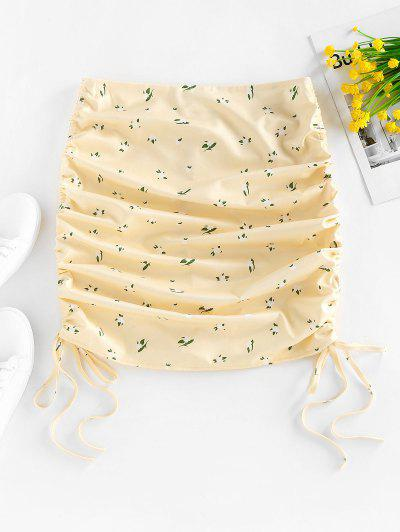 ZAFUL Ditsy Print Cinched Side Skirt - Light Yellow S