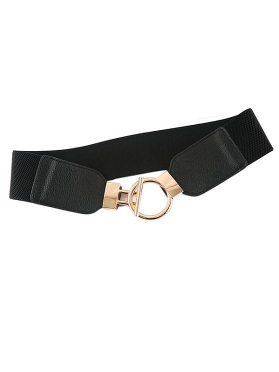 buy Geo Buckle Elastic Cinch Belt - BLACK
