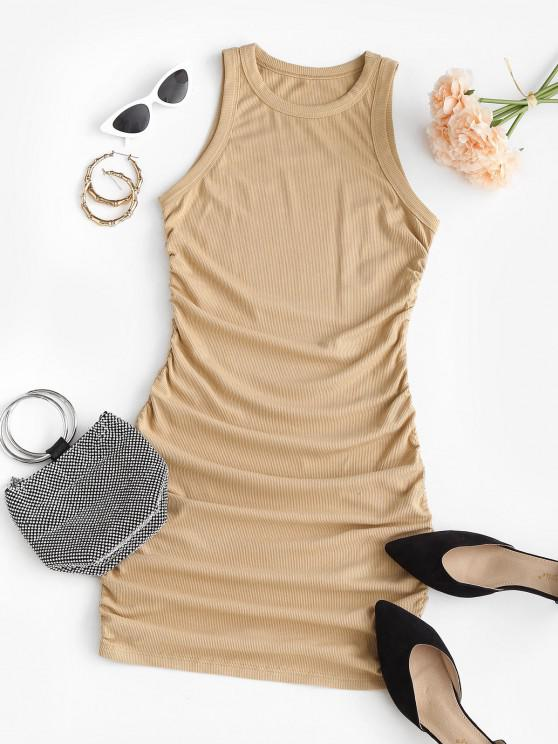 hot Ruched Ribbed Mini Bodycon Dress - LIGHT COFFEE L