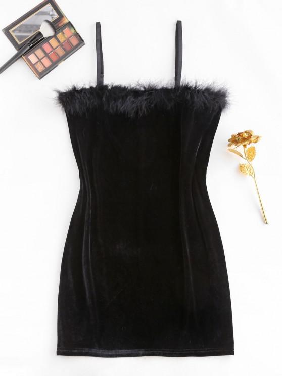 women ZAFUL Plus Size Feather Trim Velvet Slinky Dress - BLACK 3XL