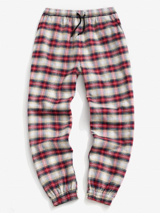 outfits Plaid Print Fleece Jogger Pants - RED M