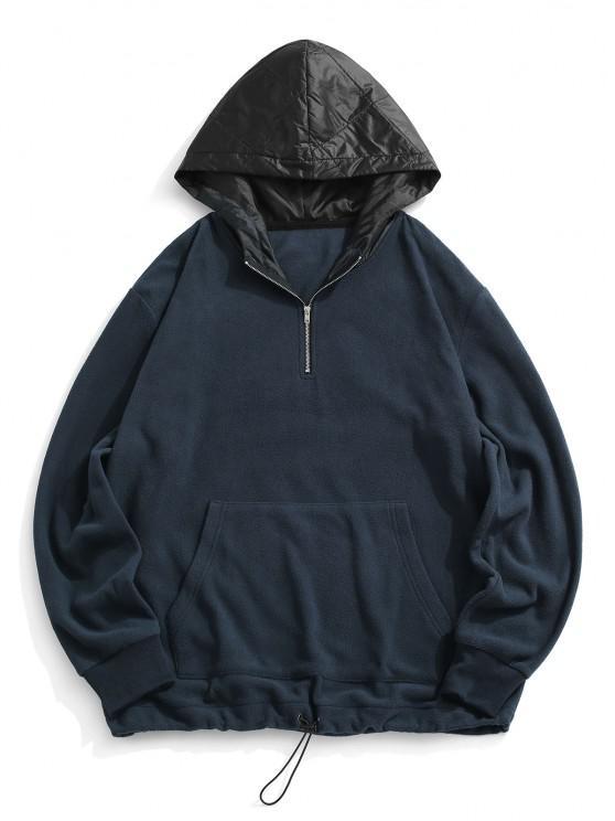 Colorblock Panel Fleece Quarter Zip Hoodie - ازرق غامق S