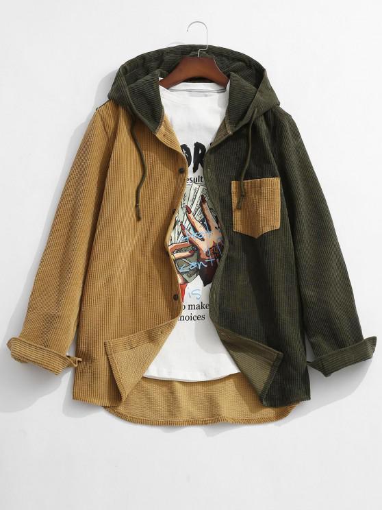 new Colorblock Hooded Corduroy Shirt - DEEP YELLOW XL