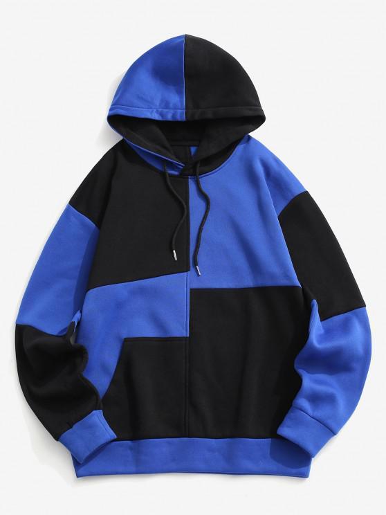 Fleece-Lined Colorblock Hoodie - أزرق L