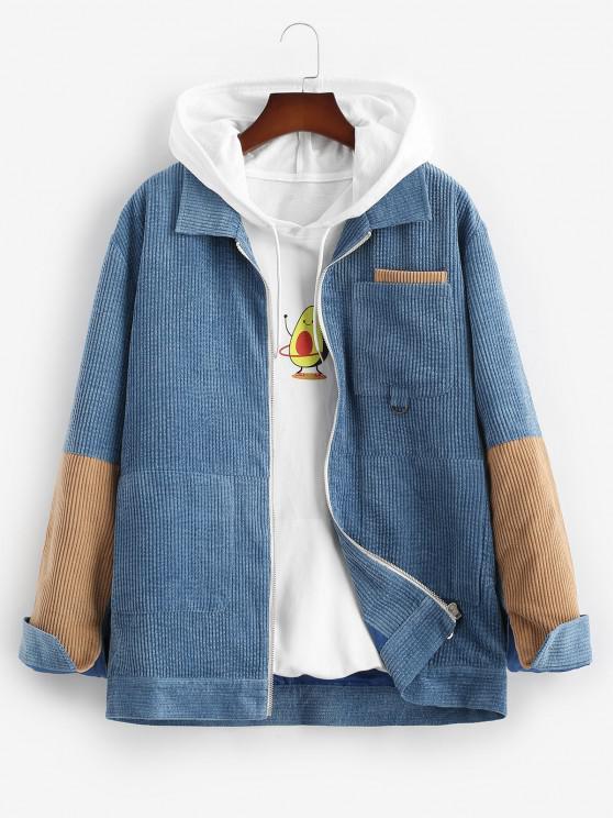 Colorblock Panel Corduroy Jacket - أزرق S