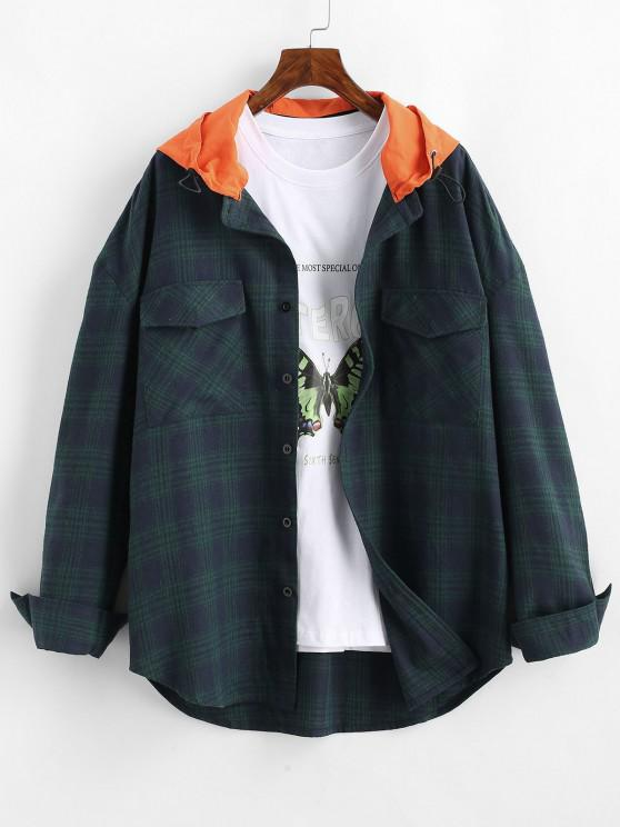 affordable Long Sleeve Plaid Shirt With Colorblock Hood - DEEP BLUE S