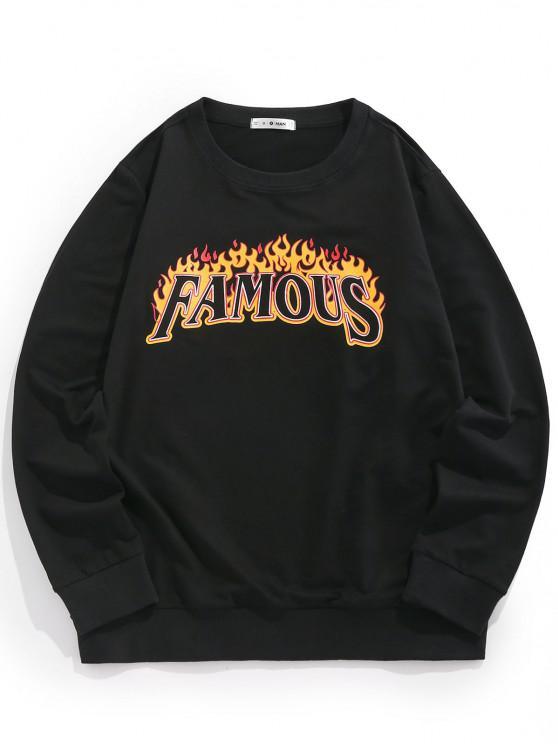 ZAFUL Flame Famous Crew Neck Sweatshirt - أسود S