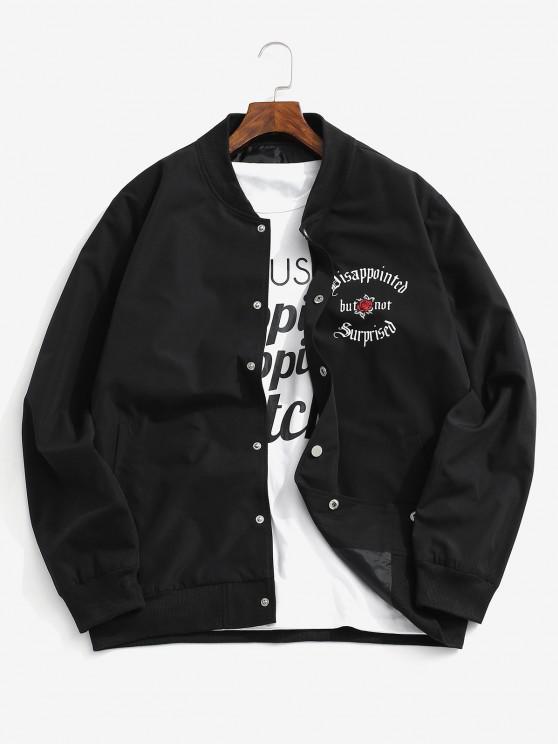 women Flower Graphic Print Button Up Jacket - BLACK XS