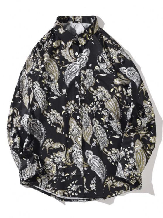 Blumen Altemodisches Druck Taschen Langarm Hemd - Nacht L