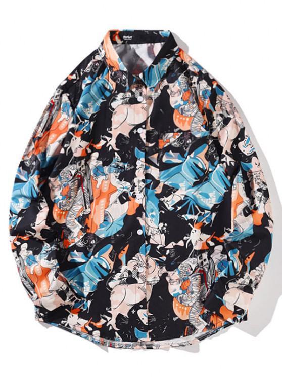 shop Long Sleeve Astronaut Pattern Pocket Shirt - JET BLACK XL