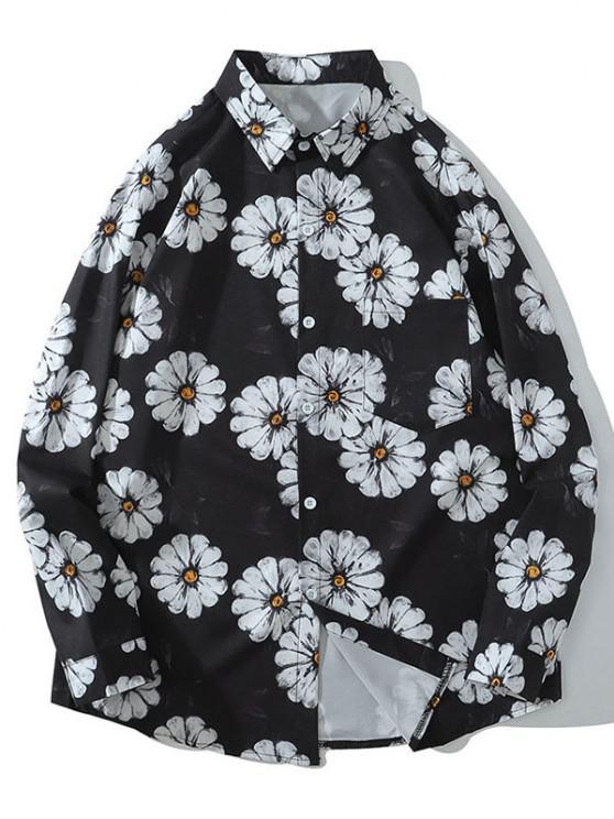 chic Daisy Print Pocket Long Sleeve Shirt - BLACK L