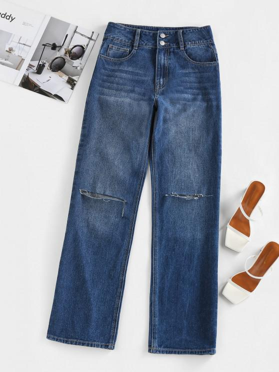 lady ZAFUL Knee Ripped High Waisted Straight Jeans - DEEP BLUE M