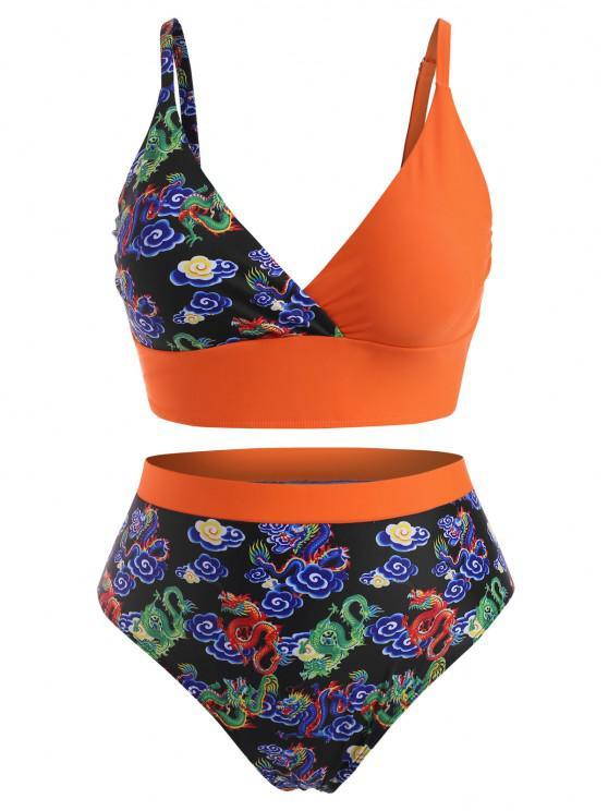 ZAFUL Übergröße Drachendruck Orientalische Bikini Badebekleidung mit Hoher Taille - Dunkles Orange XL