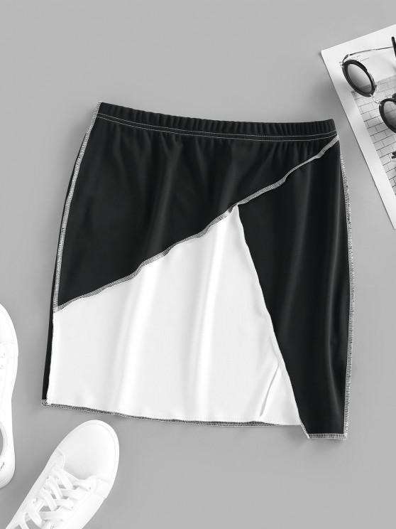 women ZAFUL Two Tone Topstitching Mini Skirt - MULTI S