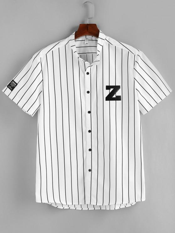 outfit ZAFUL Letter Striped Print Button Up Shirt - WHITE M