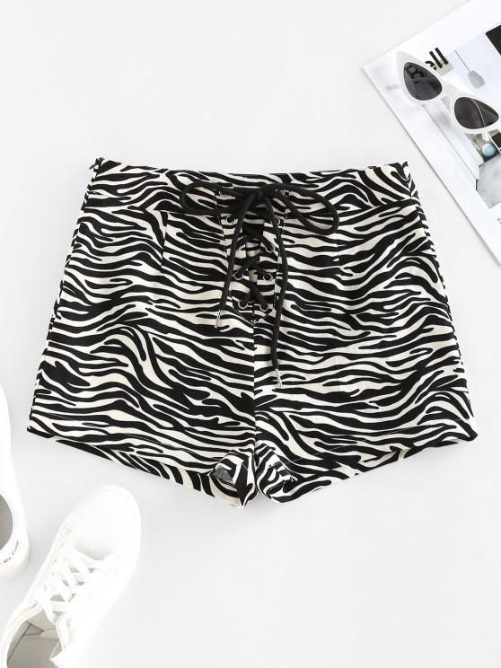 hot ZAFUL Zebra Print Lace Up High Waisted Shorts - BLACK XL
