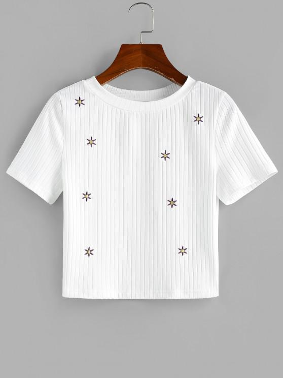 shop ZAFUL Ribbed Flower Embroidered Crop T Shirt - WHITE M