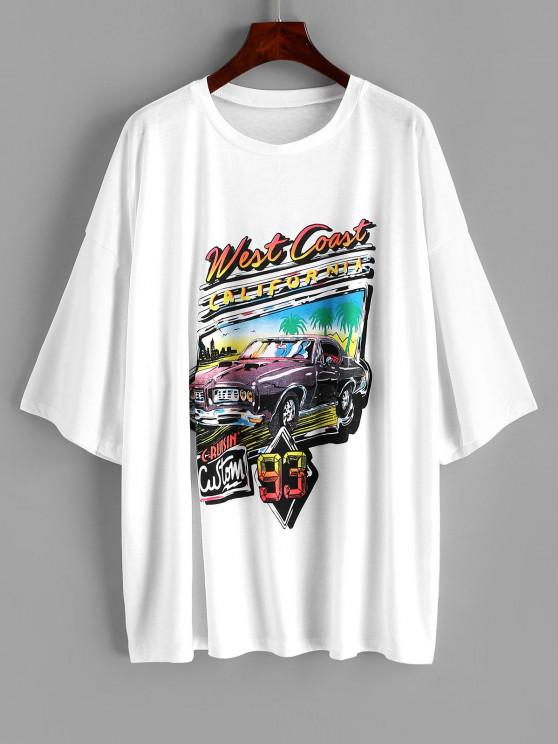 outfits ZAFUL Plus Size Vintage West Coast Graphic Tee - WHITE 3XL