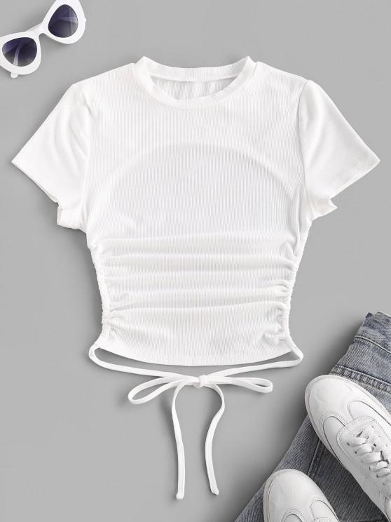 ZAFUL Ribbed Open Back Short Sleeve Basic T Shirt - أبيض L
