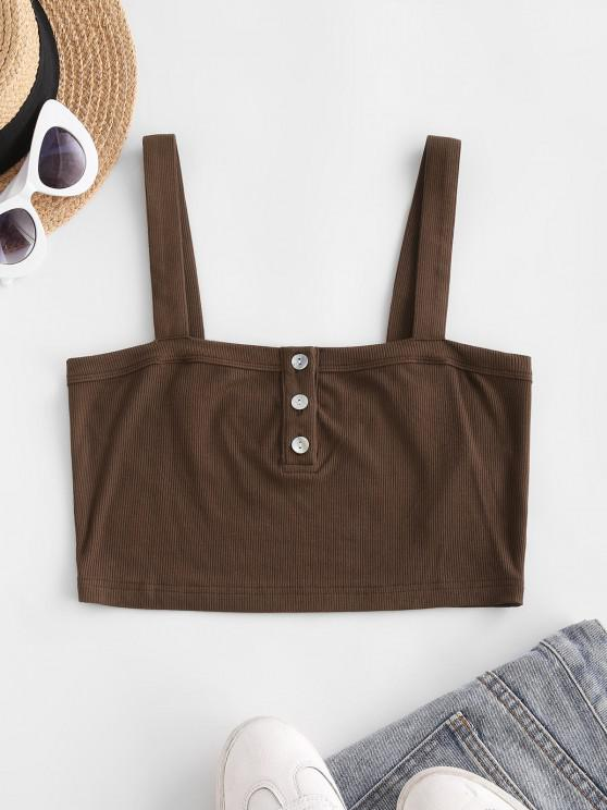 best ZAFUL Ribbed Cropped Henley Tank Top - COFFEE S