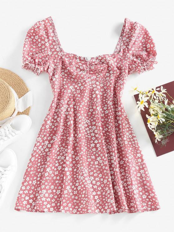 ZAFUL Ditsy Print Puff Sleeve Ruffle Ruched Mini Dress - وردي فاتح M