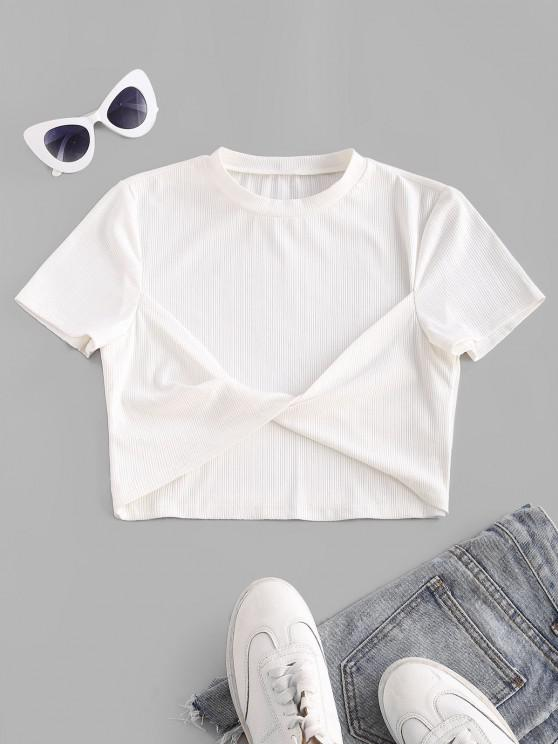 hot ZAFUL Ribbed Twisted Fitted Crop T Shirt - WHITE S