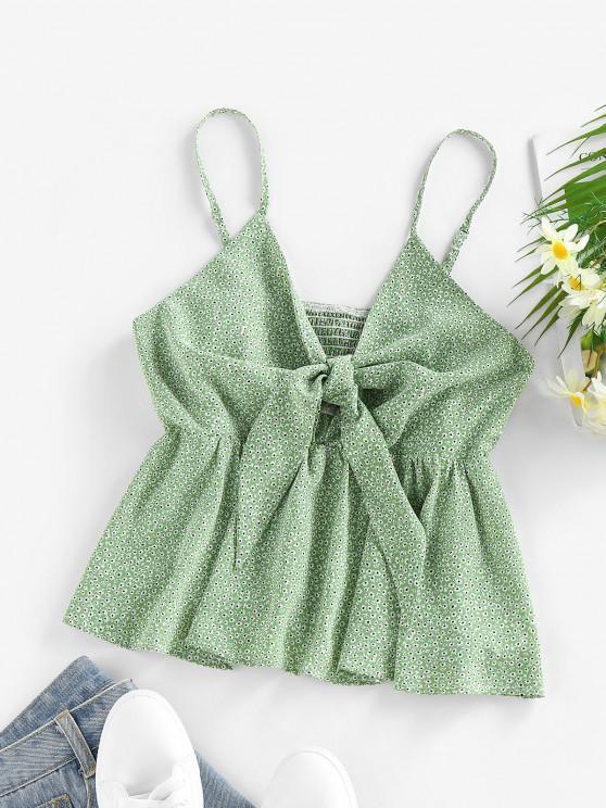 ladies ZAFUL Ditsy Print Smocked Tied Peplum Camisole - LIGHT GREEN XL