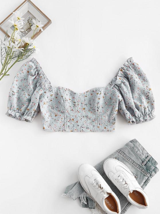 ZAFUL Ditsy Floral Puff Sleeve Zip Crop Milkmaid Blouse - أزرق فاتح L