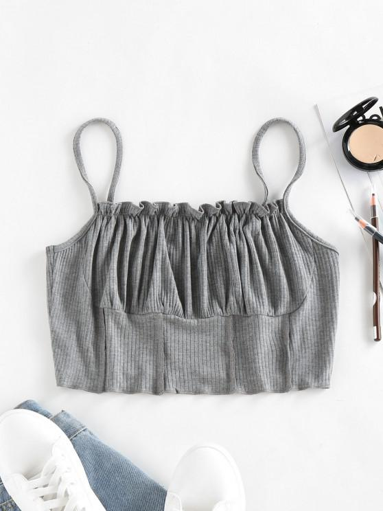 unique ZAFUL Ribbed Ruched Bust Topstitching Ruffle Camisole - GRAY XL