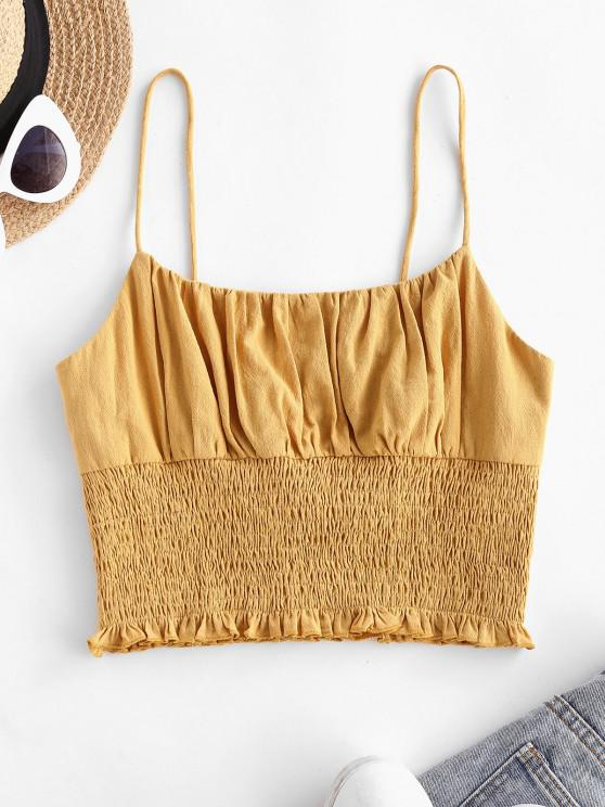 women's ZAFUL Smocked Ruched Cropped Cami Top - DEEP YELLOW S