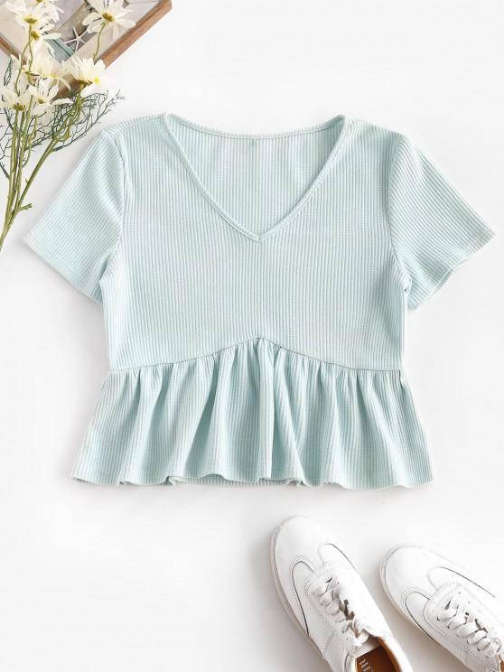 ZAFUL Camiseta de Peplum con Cuello en V Acanalado - Azul claro L