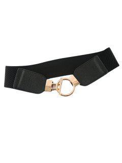 Geo Buckle Elastic Cinch Belt - Black
