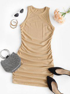 Ruched Ribbed Mini Bodycon Dress - Light Coffee M