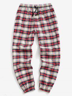 Plaid Print Fleece Jogger Pants - Red L