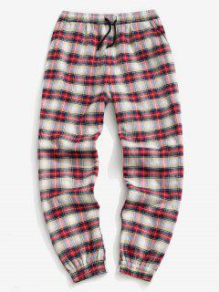 Plaid Print Fleece Jogger Pants - Red M