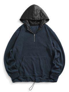 Colorblock Panel Fleece Quarter Zip Hoodie - Deep Blue L