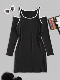 Cutout Binding Cold Shoulder Long Sleeve Dress - Black M