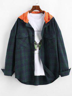 Long Sleeve Plaid Shirt With Colorblock Hood - Deep Blue L