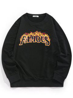 ZAFUL Sweat-shirt Ras Du Cou à Motif Flamme - Noir S