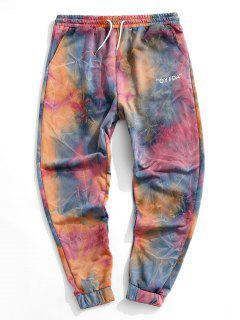 Letter Tie Dye Jogger Pants - Orange L