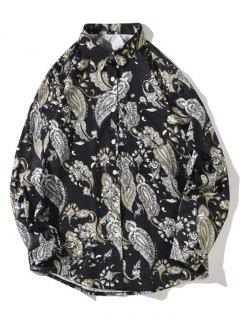 Flower Vintage Print Pocket Long Sleeve Shirt - Night M