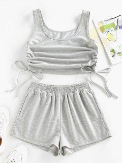 ZAFUL Cinched Side Crop Top And Shorts Co Ord Set - Light Gray M