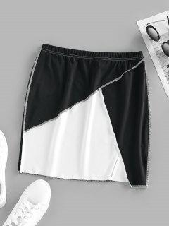 ZAFUL Two Tone Topstitching Mini Skirt - Multi M