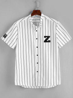 Camicia Di ZAFUL Stampata Lettere A Righe Con Bottoni - Bianca Xxl