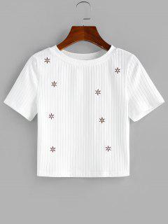 ZAFUL Geripptes Besticktes Crop T-Shirt Mit Blumenmuster - Weiß S