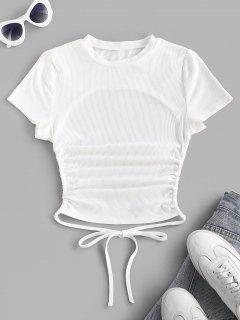 ZAFUL Ribbed Open Back Short Sleeve Basic T Shirt - White S