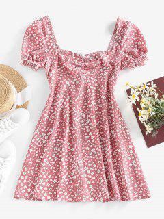 ZAFUL Ditsy Print Puff Sleeve Ruffle Ruched Mini Dress - Light Pink M