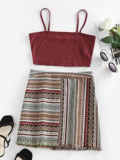 ZAFUL Ribbed Aztec Print Frayed Mini Skirt Set - Multi S