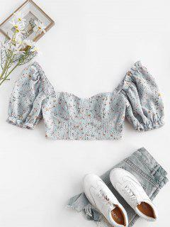 ZAFUL Ditsy Floral Puff Sleeve Zip Crop Milkmaid Blouse - Light Blue S