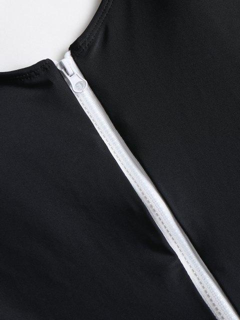 best Zippered High Cut Swimsuit - BLACK M Mobile